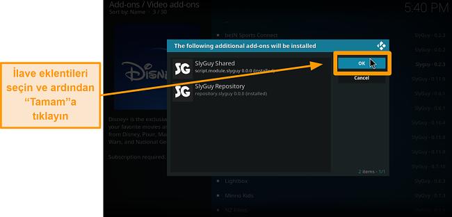 ekran görüntüsü üçüncü taraf kodi addon nasıl kurulur adım 18 ekstra eklentileri kontrol edin ve ardından Tamam'a tıklayın