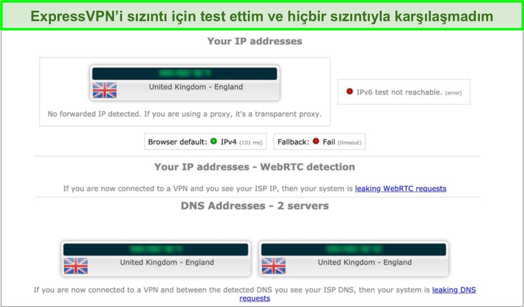 İngiltere'deki bir sunucuya bağlıyken ExpressVPN'in sızıntı testi sonuçlarının ekran görüntüsü