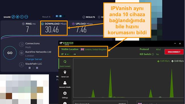 IPVanish bağlantılı bir hız testinin ekran görüntüsü