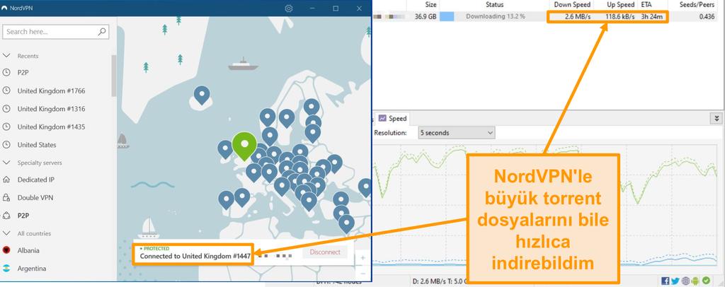 NordVPN'e bağlıyken bir torrent dosyası indirmenin ekran görüntüsü