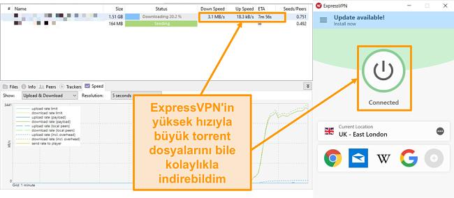 ExpressVPN bağlantı kurulumu ile torrent dosyalarını indirmenin ekran görüntüsü