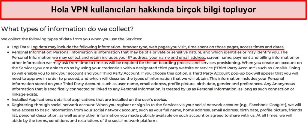 IP adresini kaydettiğini gösteren Hola VPN gizlilik politikasının ekran görüntüsü