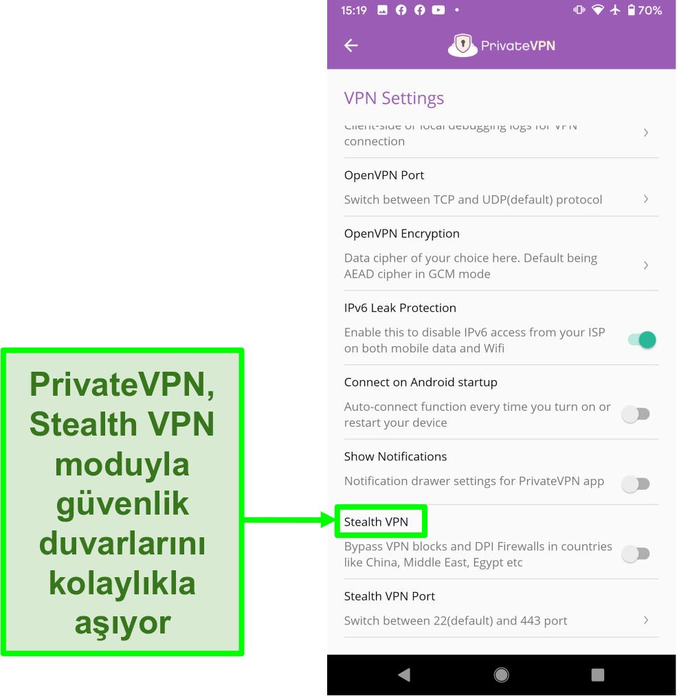 VPN engellerini aşmaya yardımcı olan Stealth VPN özelliğini gösteren PrivateVPN Android uygulamasının ekran görüntüsü