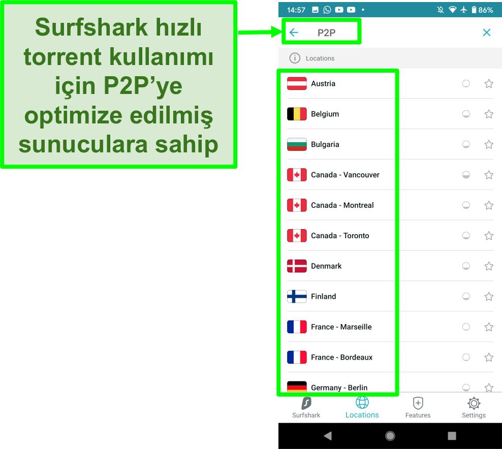 Hızlı torrent için P2P için optimize edilmiş sunucuları gösteren Surfshark VPN Android uygulamasının ekran görüntüsü