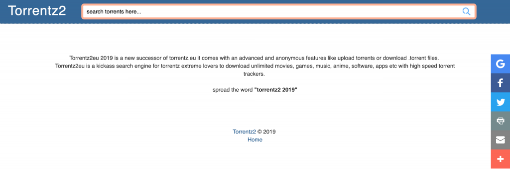 Torrentz2 torrenting website