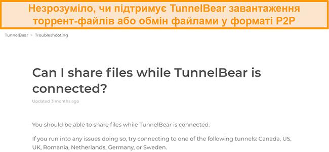 Знімок екрана сторінки усунення несправностей TunnelBear щодо спільного використання файлів