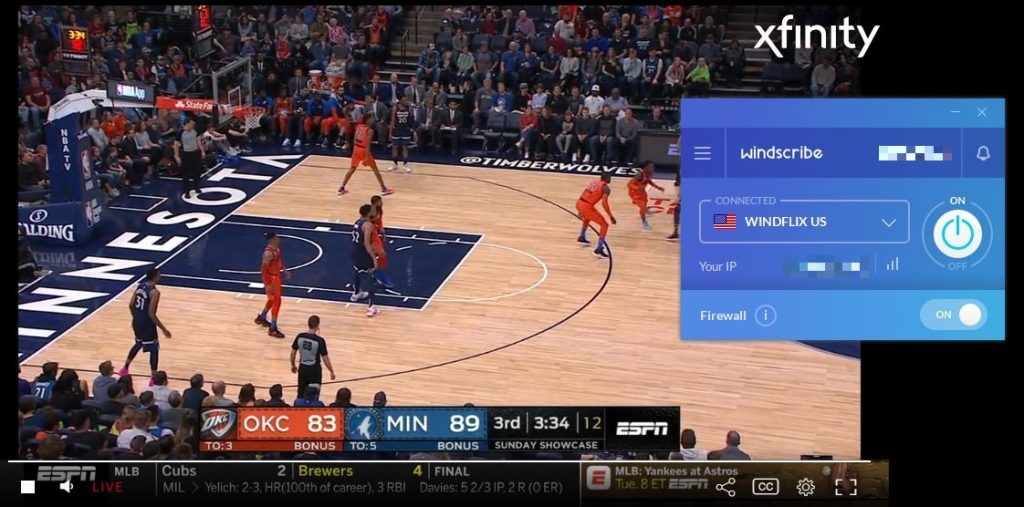 Windscribe works with WatchESPN