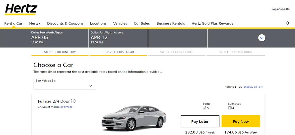 Car rental price comparison 1