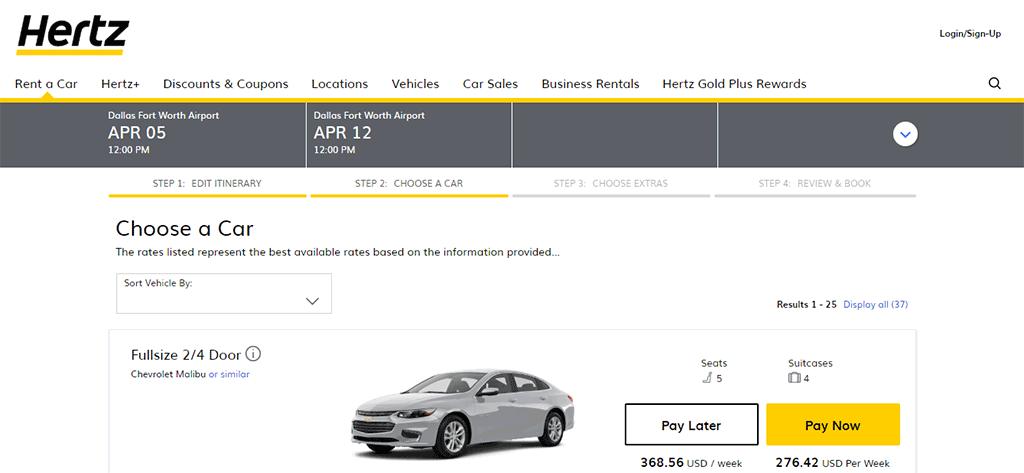 Car rental price comparison 2