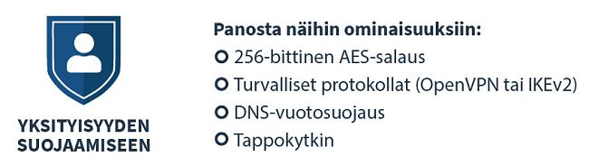 infografia siitä, kuinka valita VPN yksityisyyttä varten