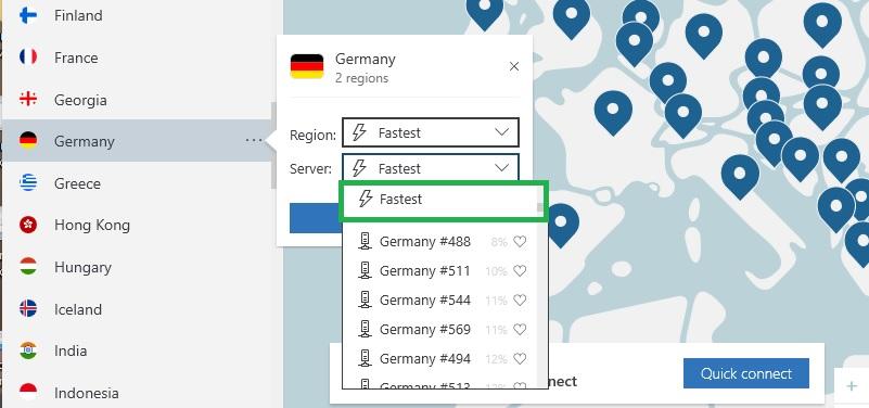 NordVPN find fastest server