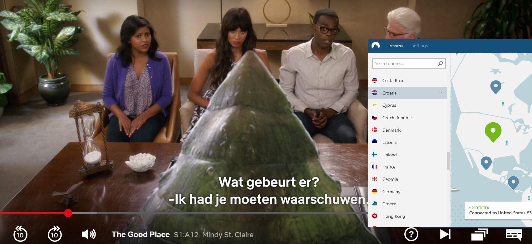 Screenshot van NordVPN deblokkeert Netflix US