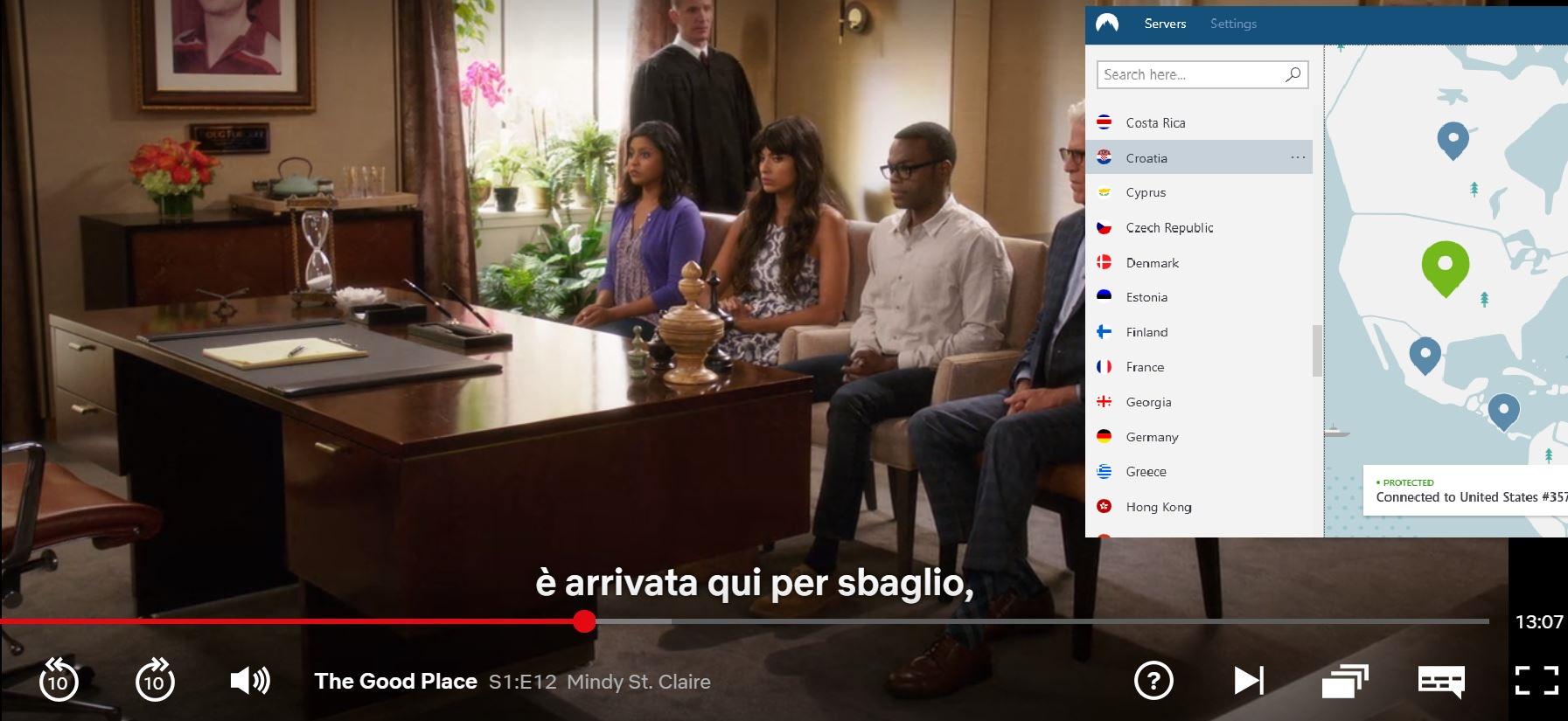 Schermata di NordVPN sbloccare Netflix US