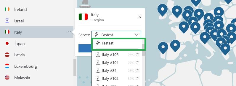 NordVPN trova il server più veloce