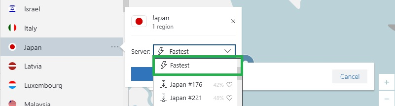 NordVPNが最速のサーバーを見つける