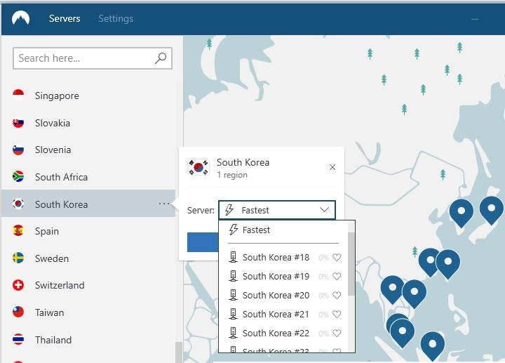 NordVPN은 한국 도시로 선택
