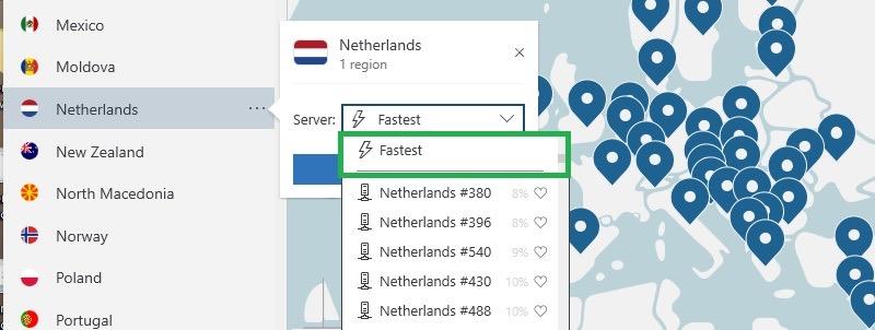 NordVPN vindt de snelste server