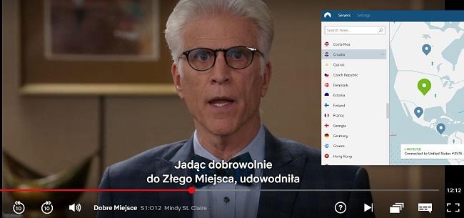 Zrzut ekranu z NordVPN odblokowuje Netflix US