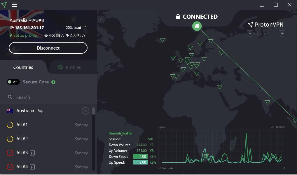 ProtonVPN Australia server select