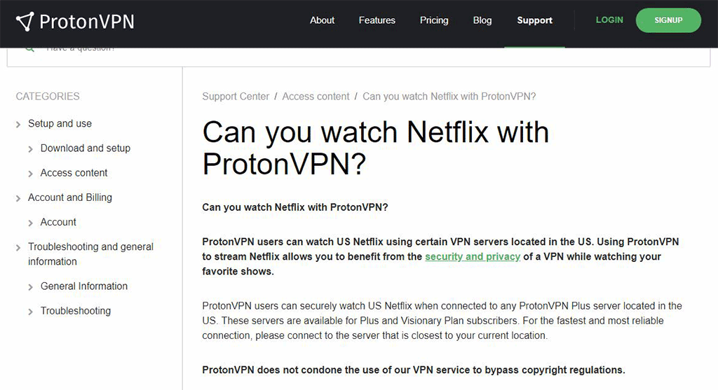ProtonVPN's site about the Netflix bypassing