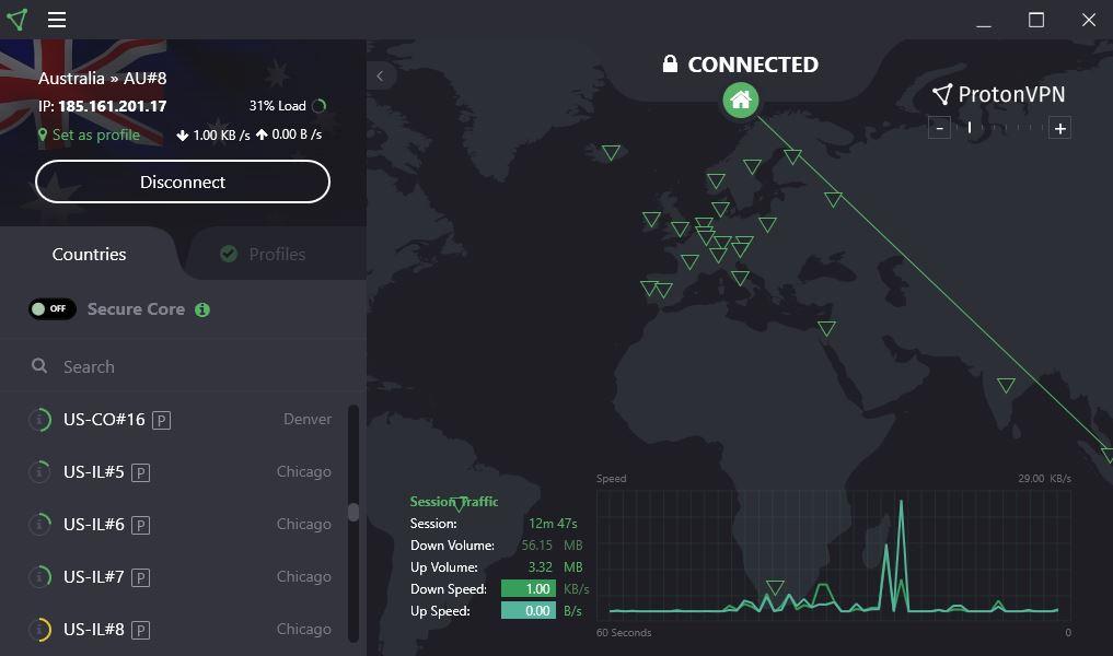 ProtonVPN US server select