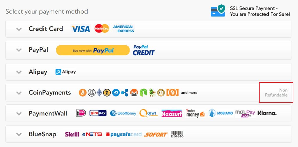 PureVPN payment method