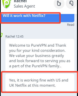 PureVPN customer support chat