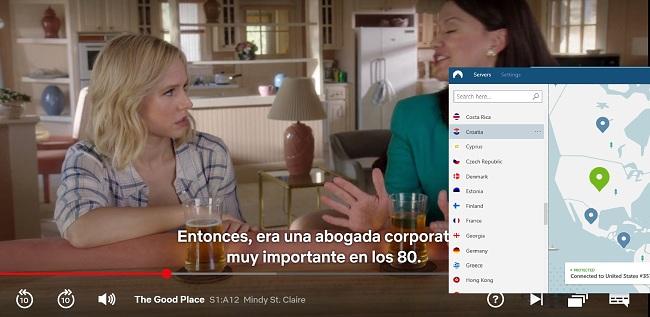 Captura de pantalla de NordVPN desbloquea Netflix US