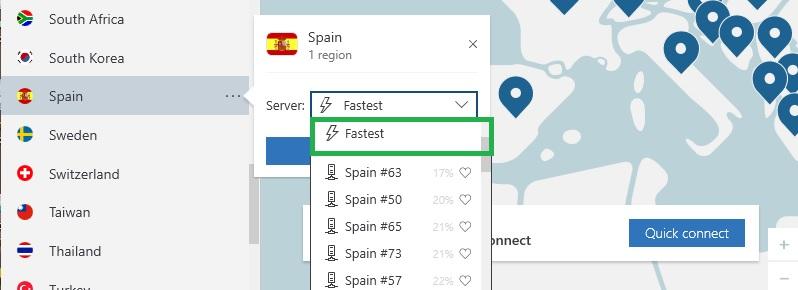 NordVPN encuentra el servidor más rápido