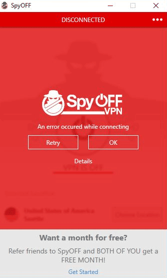 SpyOFF vpn error while connecting