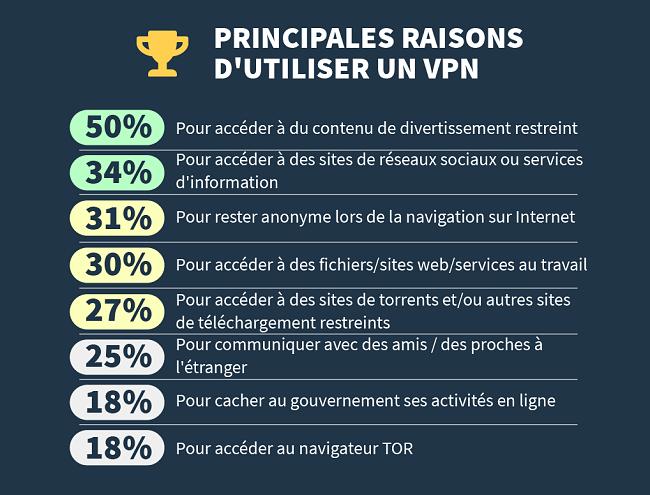 infographie sur les principales raisons pour lesquelles les gens utilisent un vpn