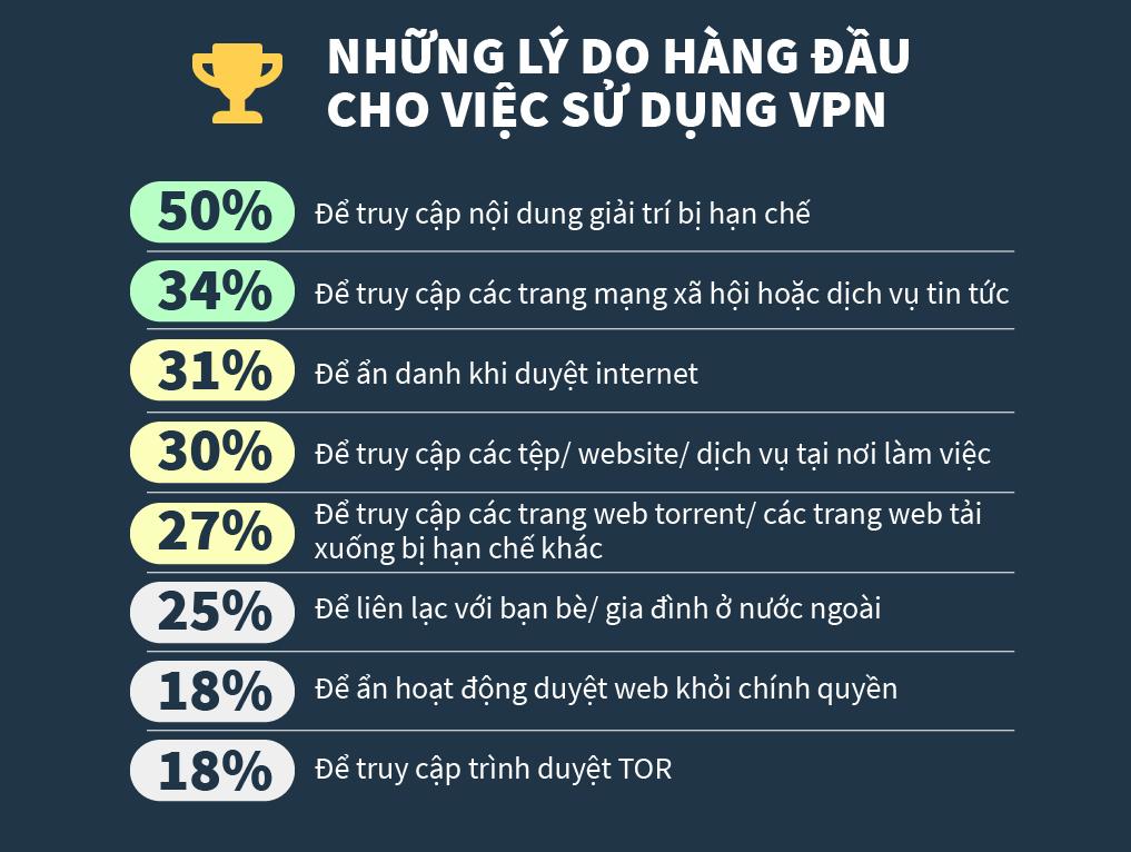 Infographic về lý do hàng đầu tại sao mọi người sử dụng một vpn