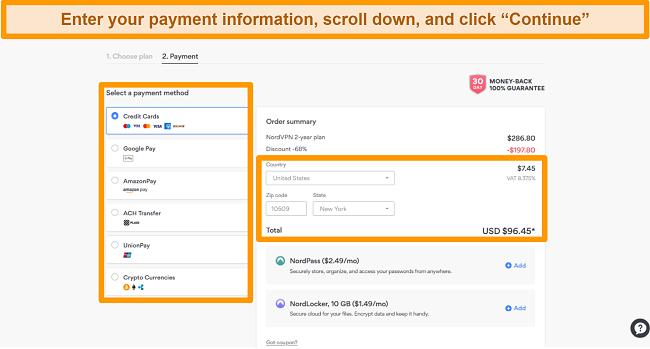 Screenshot of NordVPN's payment options