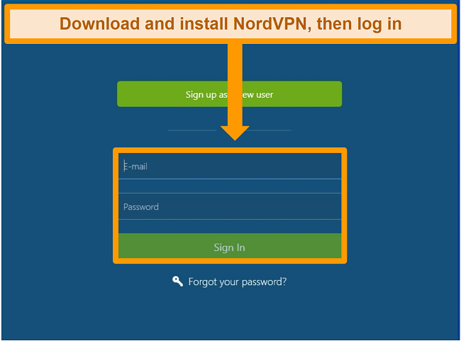 Screenshot of the login screen on the NordVPN Windows app
