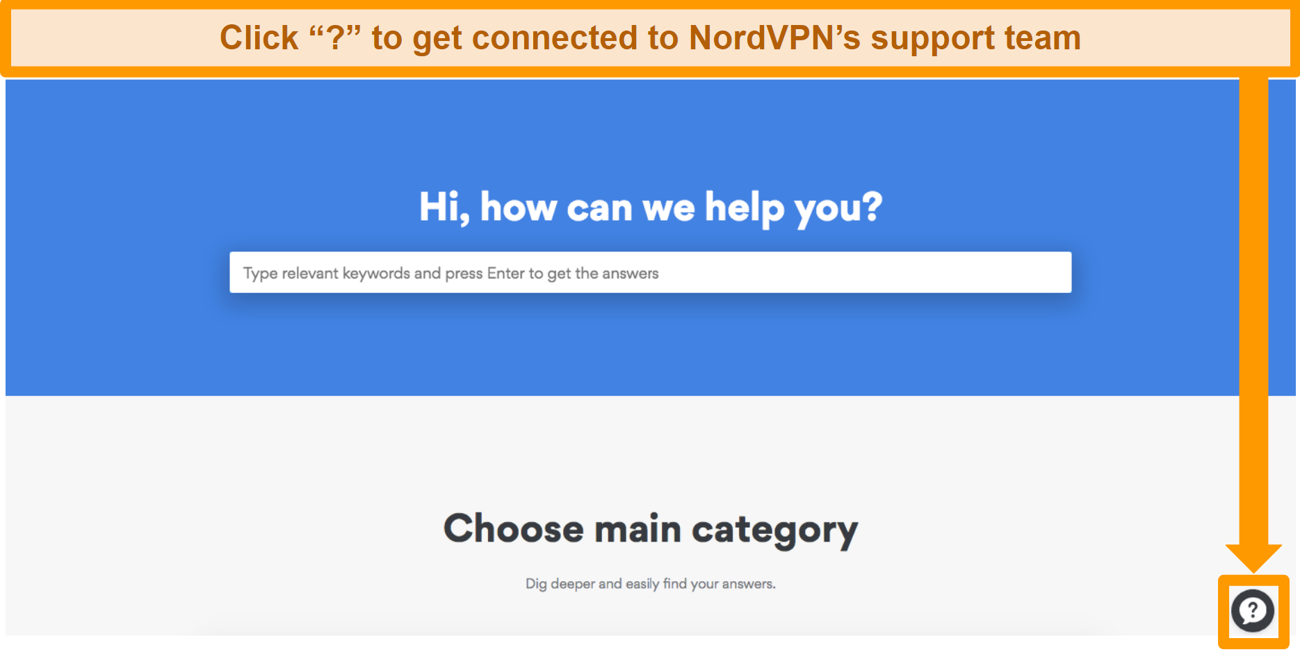 Screenshot of NordVPN's help page with the support button on the bottom