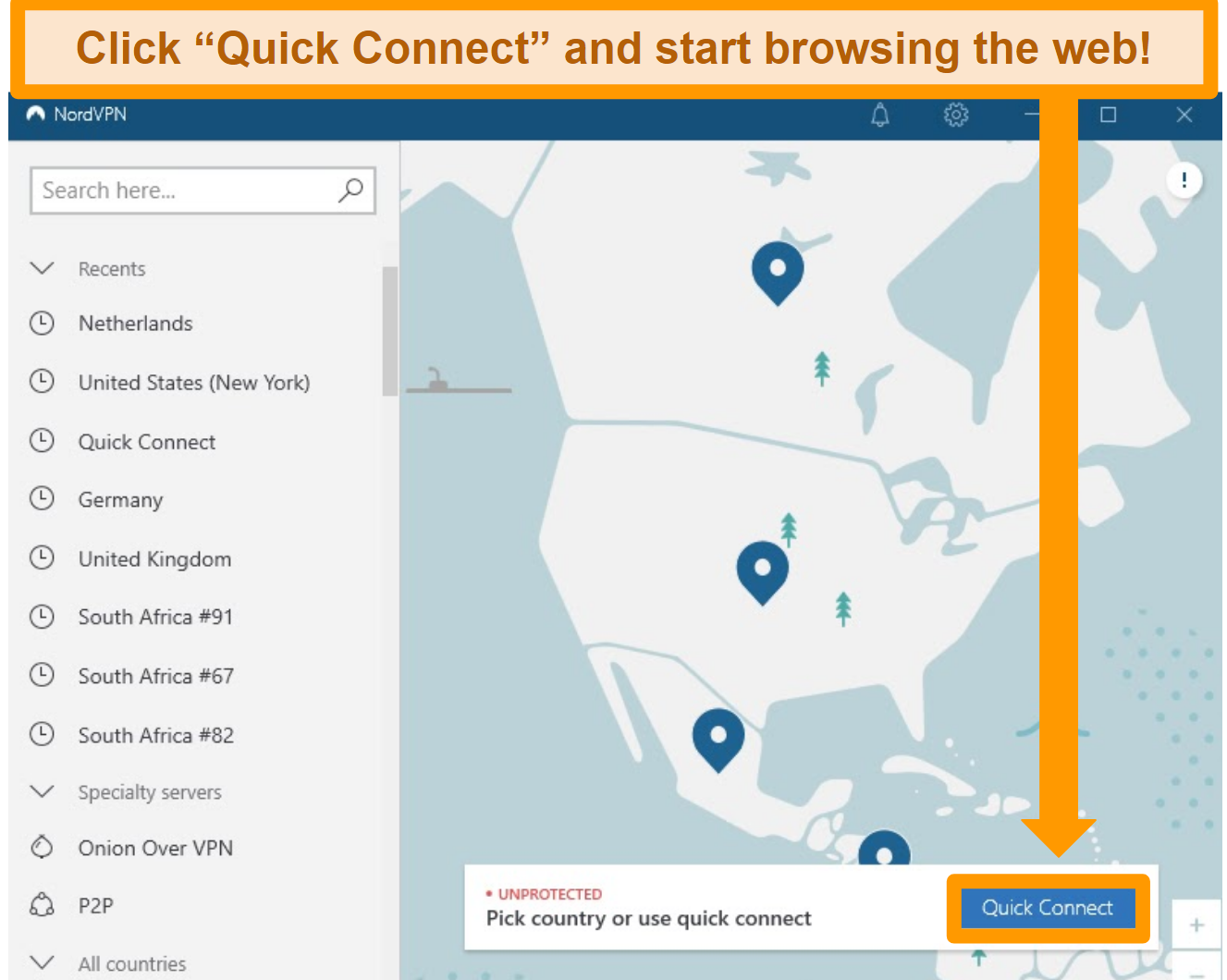 Screenshot of NordVPN's home screen