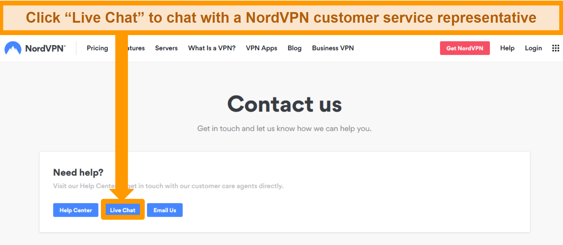 Screenshot of the NordVPN Contact us page showing the Live Chat button