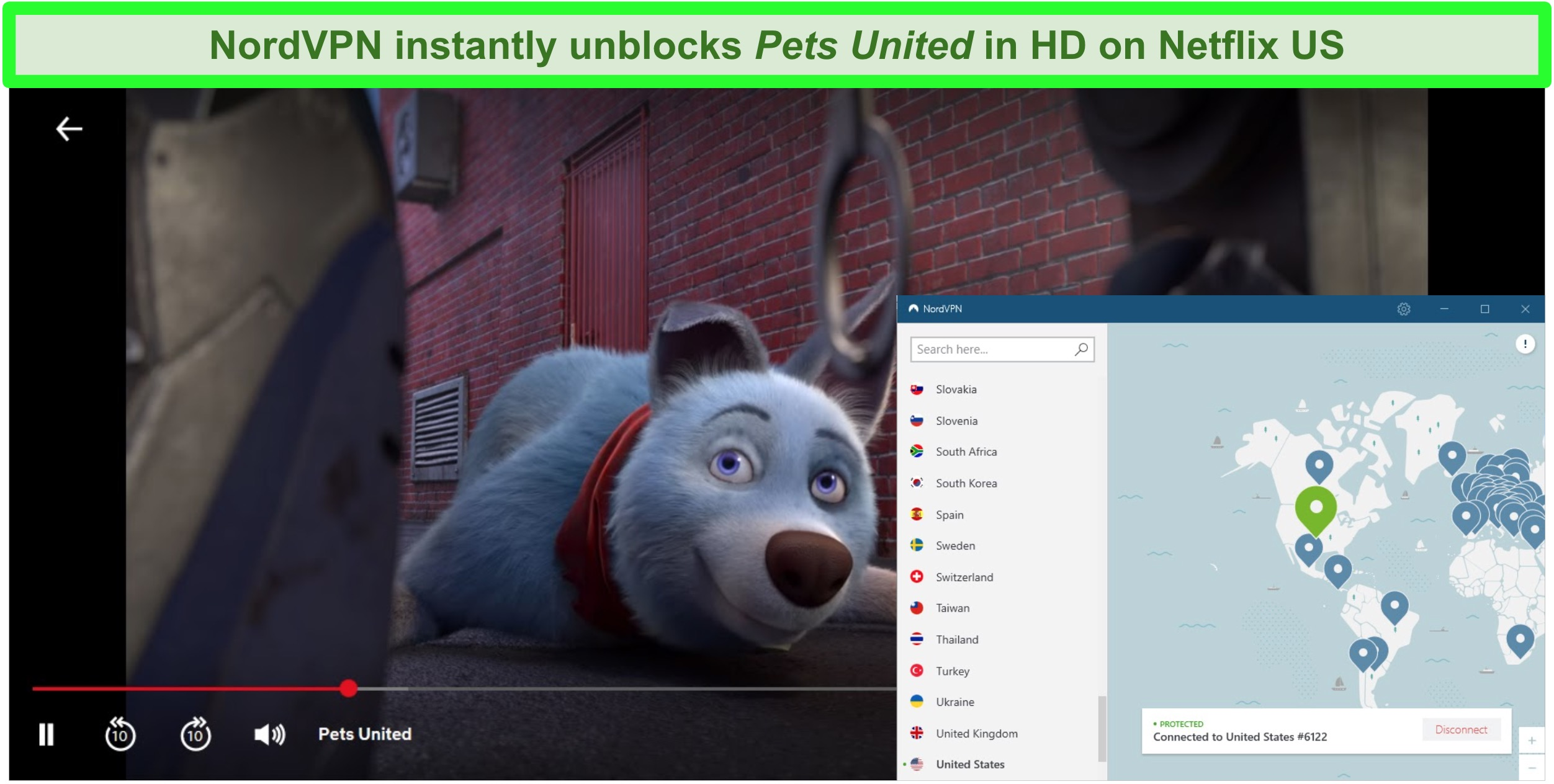 Screenshot of Pets United unblocked on Netflix while NordVPN is connected to a server in the US