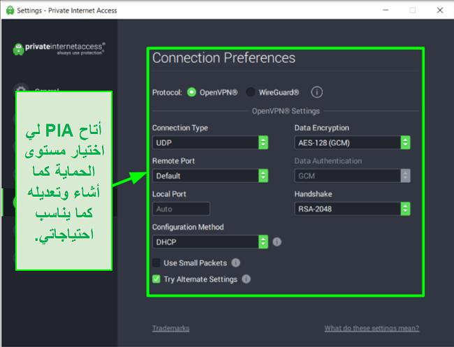 لقطة شاشة لإعدادات أمان PIA المتاحة