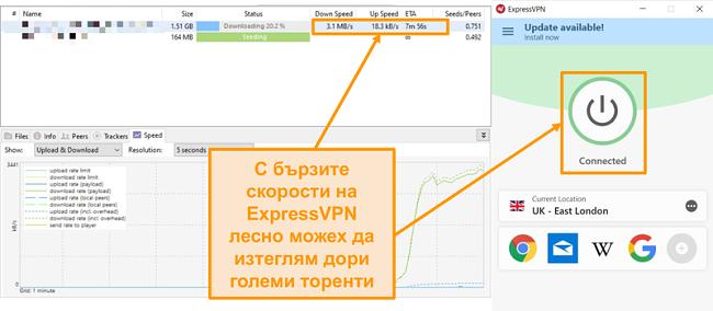 Екранна снимка на изтеглянето на торент файлове с настройване на expressVPN връзка