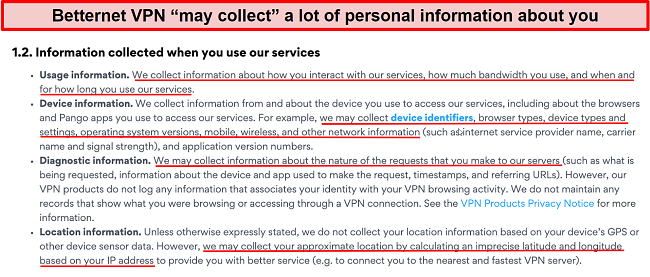 Screenshot of Betternet VPN's privacy policy