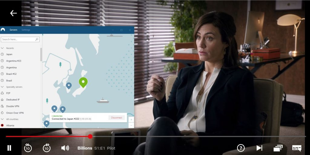 Watching Billions with NordVPN