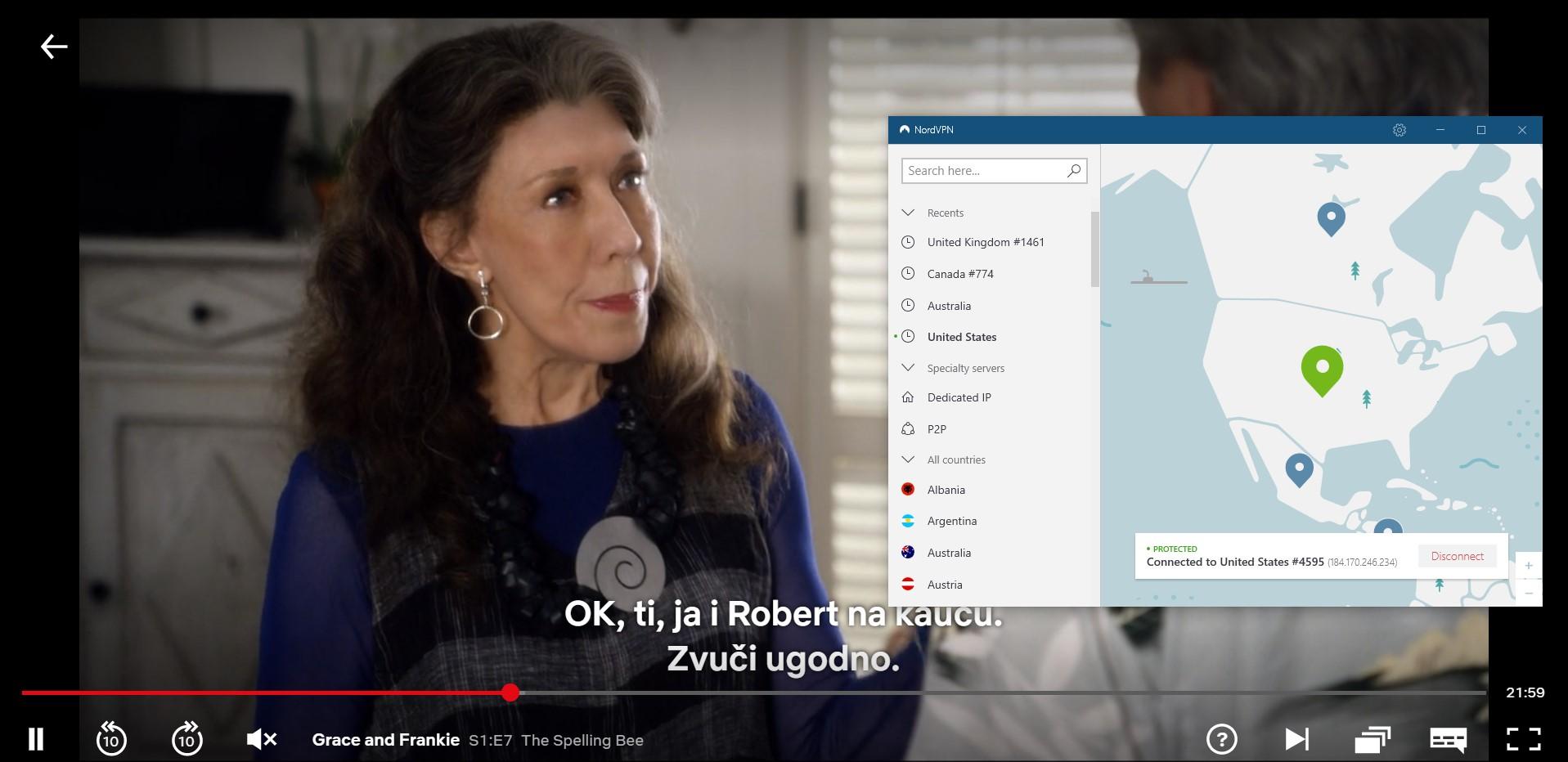 Snimak ekrana za NordVPN deblokiranje Netflix US