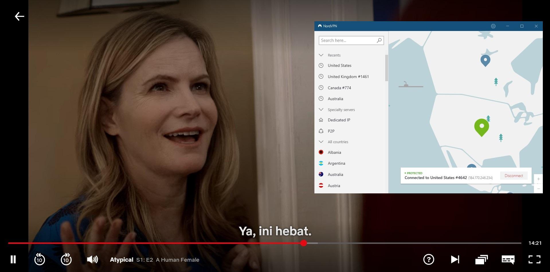 NordVPN bekerja dengan Netflix USA -
