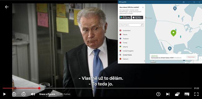 Screenshoty k NordVPN odblokování Netflix USA