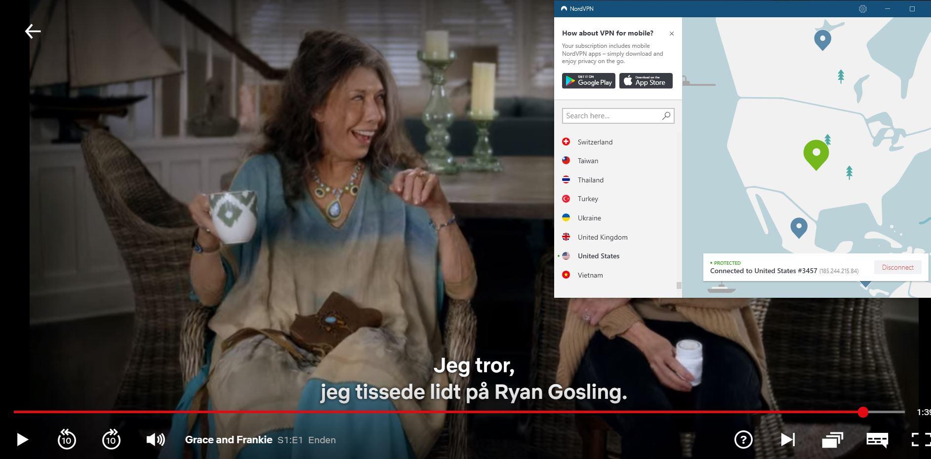 Skærmbillede af NordVPN fjerne blokering af Netflix US