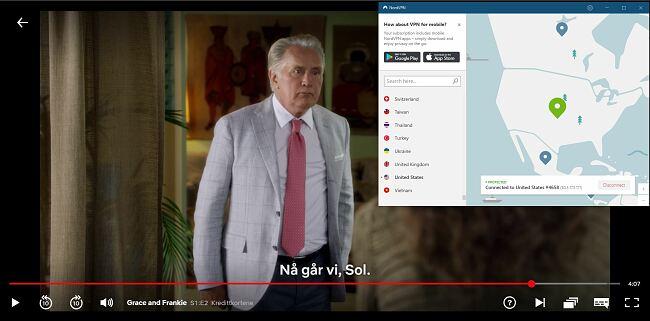 Skjermbilde av NordVPN fjerne blokkering av Netflix US