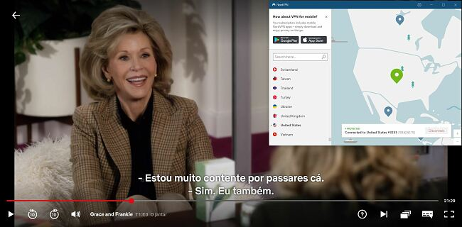 Captura de tela do NordVPN desbloquear Netflix EUA