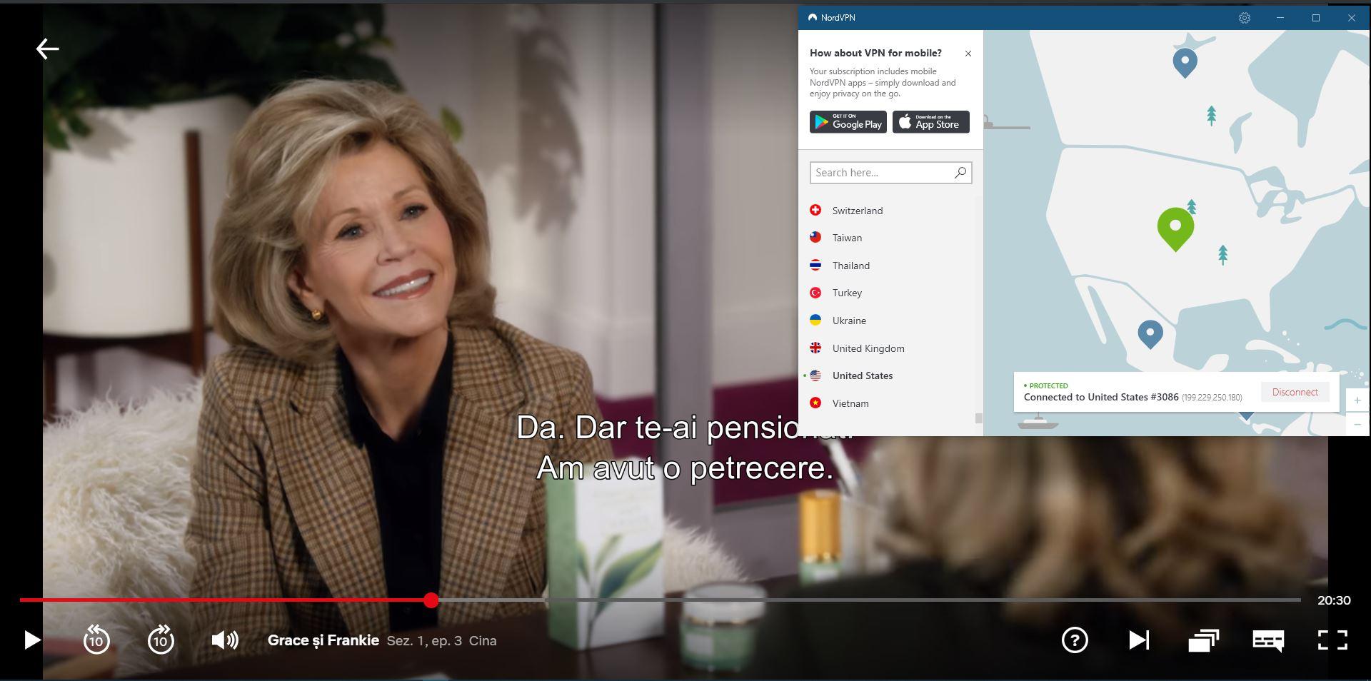 Screenshot de NordVPN deblochează Netflix SUA