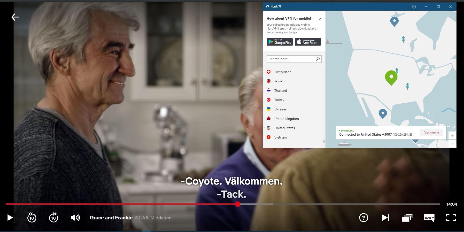 Skärmdump av NordVPN avblockerar Netflix US
